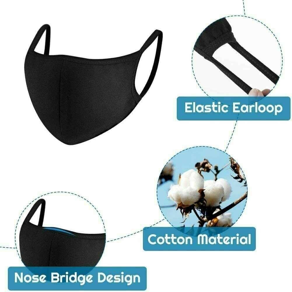 Cotton Face Mask Soft Black Mo